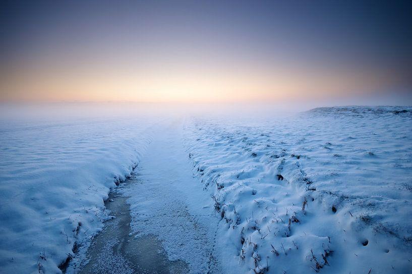 Winters Sneeuwlandschap in Zoeterwoude van Martijn van der Nat