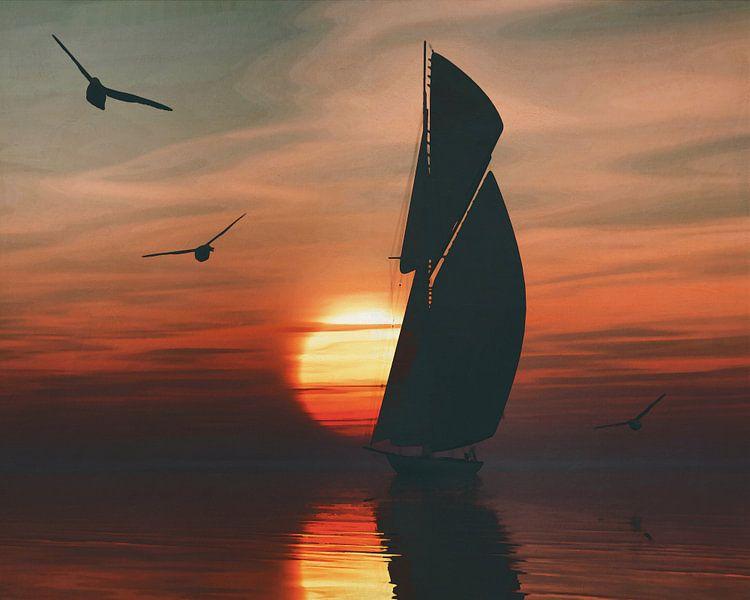 Zeilboot bij zonsondergang 4 van Jan Keteleer