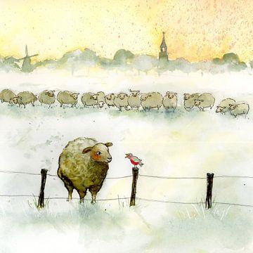 Schaf mit Rotkehlchen von Martine van Nieuwenhuyzen