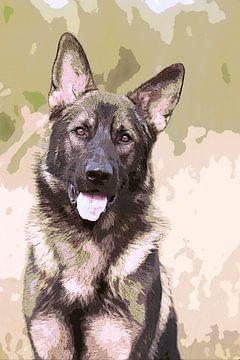Junger deutscher Schäferhund in Militärfarben von Michar Peppenster