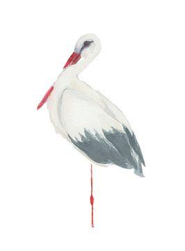 Ooievaar aquarel met geisoleerde witte achtergrond van Yvette Stevens