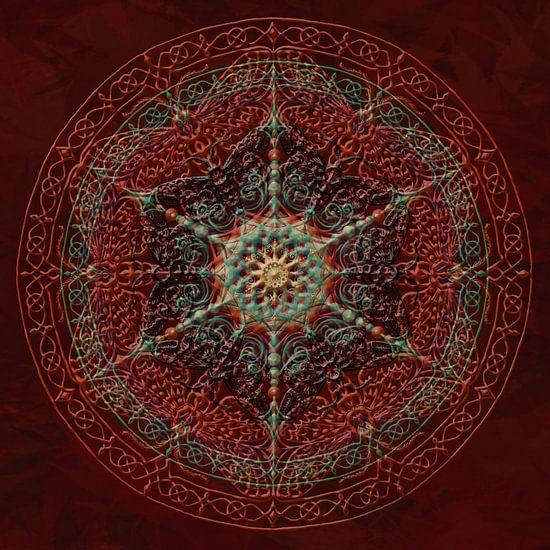 Mandala, rood met verdikte, opliggende lijnen