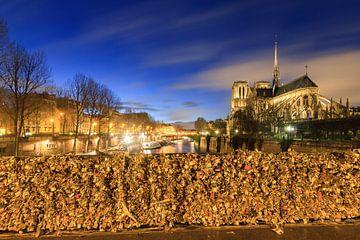Notre-Dame von der Pont de l'Archevêché am Abend von Dennis van de Water