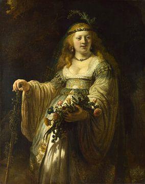 Saskia van Uylenburgh in Arcadian Costume, Rembrandt sur