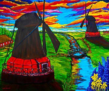 Windmühlen am Kanal von Eberhard Schmidt-Dranske