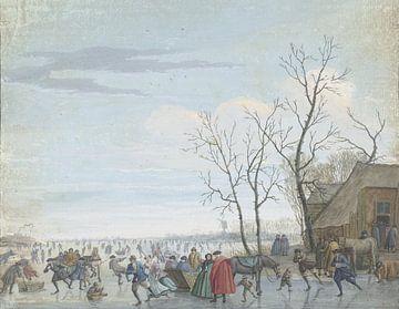 Winterlandschaft mit Eisunterhaltung, Louis Chalon