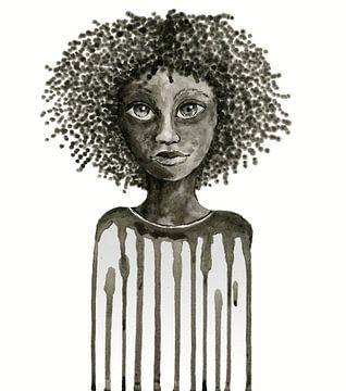 Zwart druppelmeisje van Bianca Wisseloo