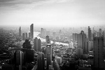 Zwart/Wit foto van Bangkok van Nick van der Blom