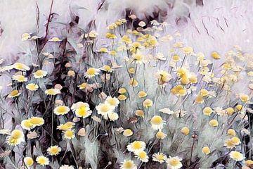 Blumenwiese mit gelben Wildblumen Aquarellmalerei