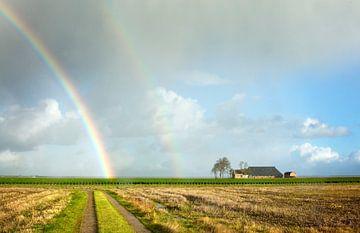 Dubbele regenboog in de Noordpolder van Bo Scheeringa