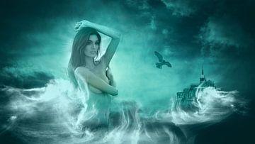 Vrouw  in zee van Michael Eckhoff