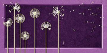 Paardebloemen in modern design violet van Monika Jüngling