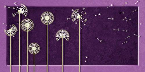 Pusteblumen in modernen Design Violett von