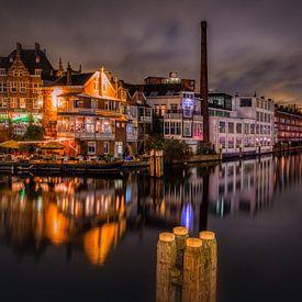 Delfshaven 's nachts van Mart Houtman