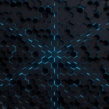 Hexagon-Landschaft mit blauem Licht van Jörg Hausmann