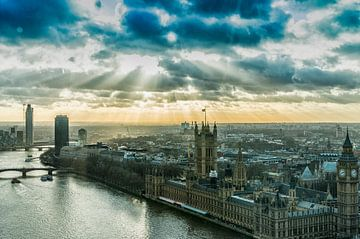 Londen, deTheems en parlementsgebouwen van John van Weenen