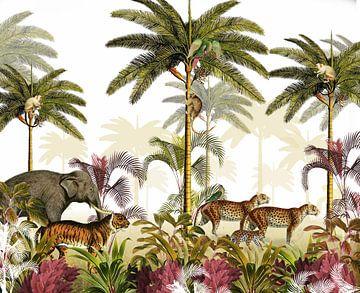 Dschungelpalmen mit Tiger, Panther und Elefant von Studio POPPY