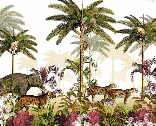 Jungle prent palmbomen met tijger, panters en olifant