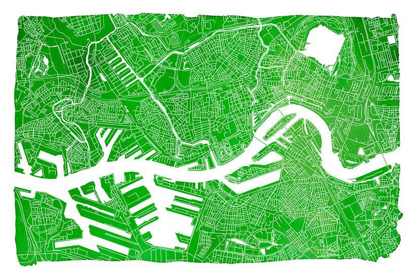 Rotterdam   Stadskaart Groen   Met witte kader van - Wereldkaarten.shop -
