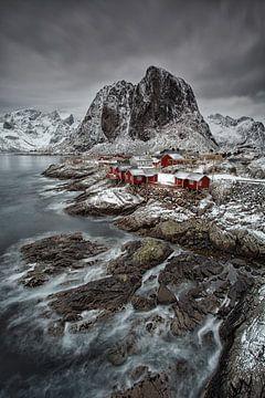 Rode Vissershuisjes Hamnøya, Noorwegen