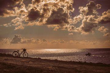 Fiets op Lampedusa bij zonsondergang van Elianne van Turennout