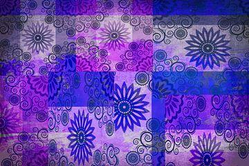Collage van sterren, blauw en paars van Rietje Bulthuis