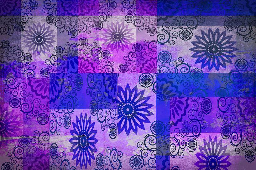 Collage des étoiles, bleu et violet sur Rietje Bulthuis