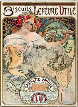 Vanille koekjes poster - Alphonse Mucha, 1900s van Atelier Liesjes