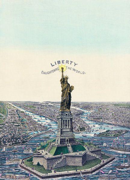 Die Freiheitsstatue, New York von Vintage Afbeeldingen