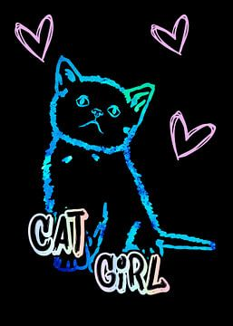 Kat Meisje katten moeder indon op zwart van KalliDesignShop
