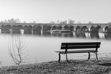 Bank mit Blick auf die Brücke über die Loire bei Amboise von Ramon Van Gelder