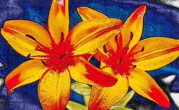 Schets van lelies, rood,geel en blauw van Rietje Bulthuis