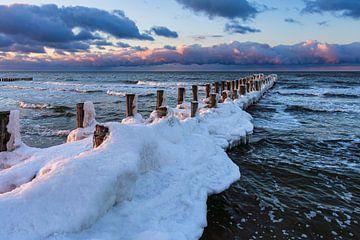 kribbe aan de Oostzeekust in Zingst in de winter van Rico Ködder