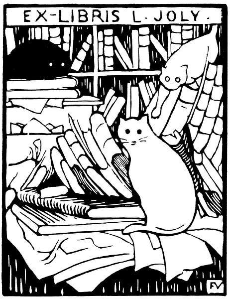 Katten in de bibliotheek, Félix Vallotton - 1893 van Atelier Liesjes
