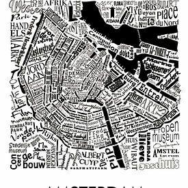 Map of Amsterdam in words sur Muurbabbels Typographic Design