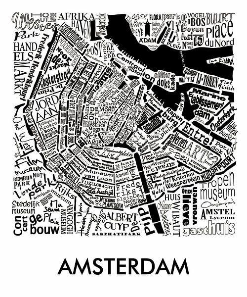 Plattegrond Amsterdam in woorden met A'dam toren van Muurbabbels Typographic Design