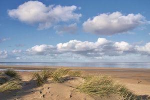 Zeezicht met wolkenlucht vanuit de duinen, op Texel