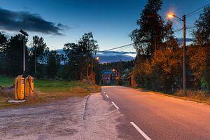 Oude Shell benzinepomp installatie in Noorwegen