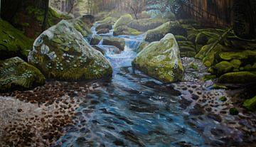 bossen, Mos in Frankrijk, riviertje, water, cascade van