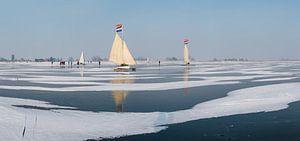 IJszeilen op de Gouwzee, Monnickendam,  Noord-Holland,