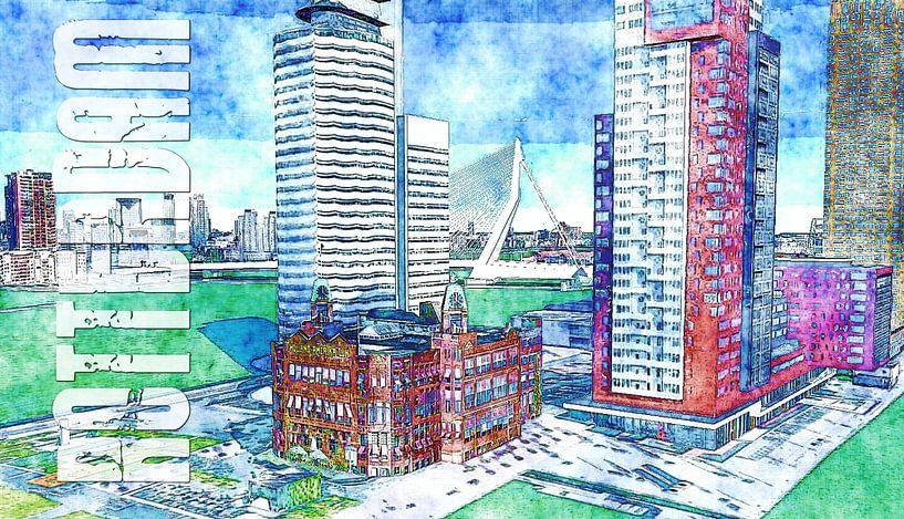 Schilderij Rotterdam kunstwerk met oa Holland Amerika Lijn Popart Kunst - Poster Rotterdam van Kunst Company