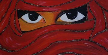 verschleierte Frau in rot II van Babetts Bildergalerie