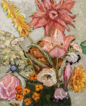 Feldblumenstrauß mit Tulpen von Tanja Koelemij