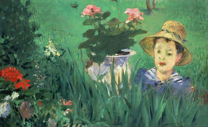 Junge in Blumen (Jacques Hoschedé), Édouard Manet von Meesterlijcke Meesters