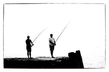 Die Fischer (Silhouette) (schwarz-weiß) von Fotografie Jeronimo