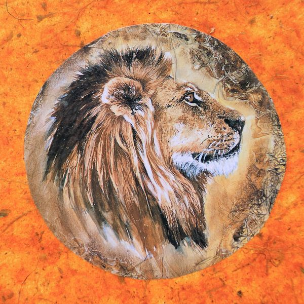 Kunstwerk van een leeuw geschilderd vierkant kunst van Bobsphotography