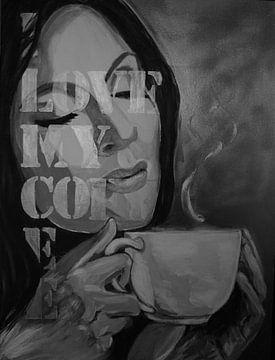 Ich liebe meinen Kaffee - Schwarz-Weiß-Malerei - Frau mit Kaffee von Marielistic-Art