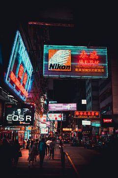 Neonbeleuchtung in Hongkong von Mickéle Godderis