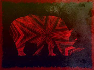 Eenzame Neushoorn Grunge Art van Nicky`s Prints