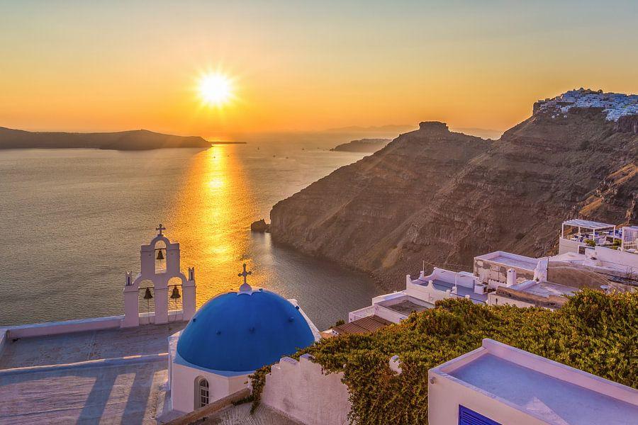 Zonsondergang op Santorini (Griekenland) van Tux Photography